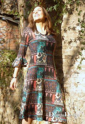 Jerseykleid mit Volantarm